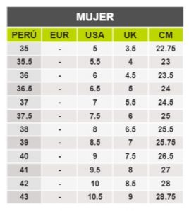 TeCuentoPeru-ADIDAS MUJER -Tallas Peru-EU-UE