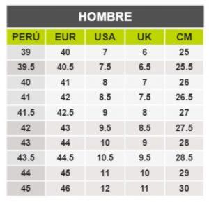 TeCuentoPeru-NIKE HOMBRE -Tallas Peru-EU-UE